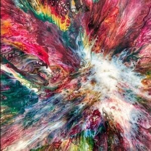 Red Flame Acrylic Fluid Painting by Adrian Reynolds, unique, abstract art.